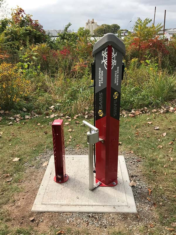 A bike repair station sponsored by Saris, installed along the Fox River Trailhead in Green Bay.