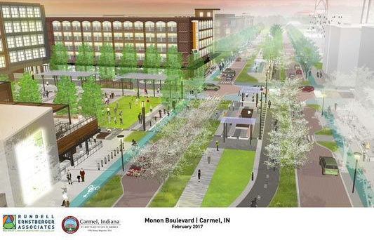 Photo of the Monon Greenway plans provided by the City of Carmel