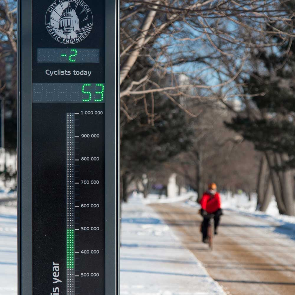 Cycle counter in Madison, Wisconsin