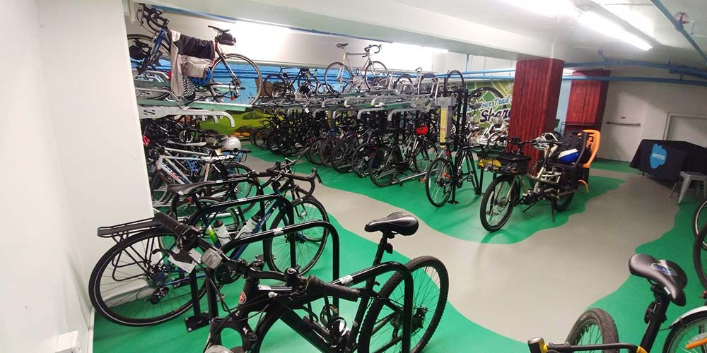The bike room at Salesforce West