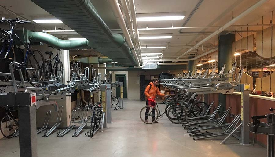Bike room with many bicycles