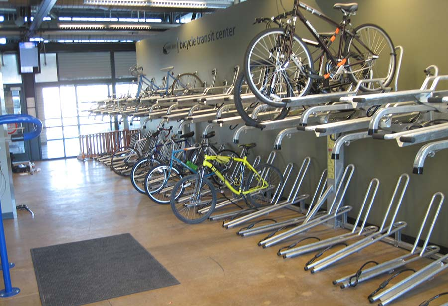 Bike room with stretch racks