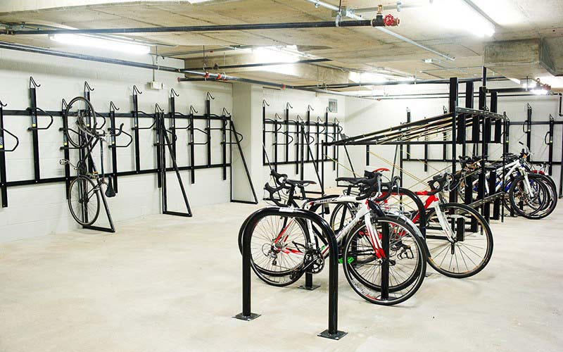Bike room with various bike racks