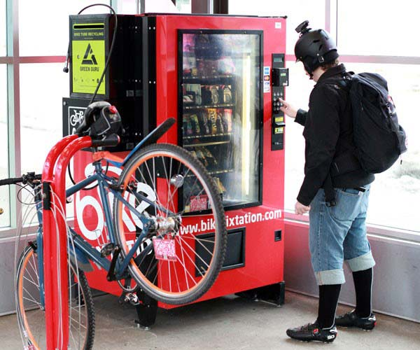Bike room with vending machine