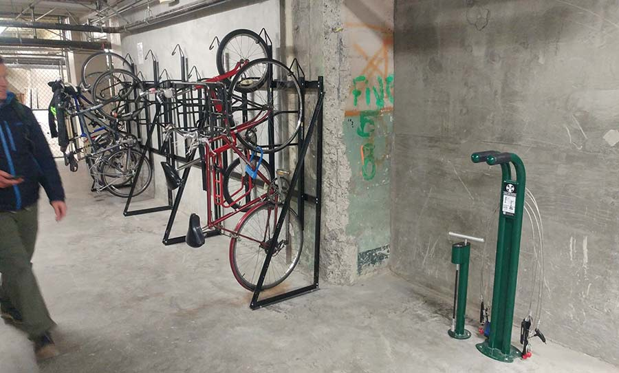 Bike room with public work stand