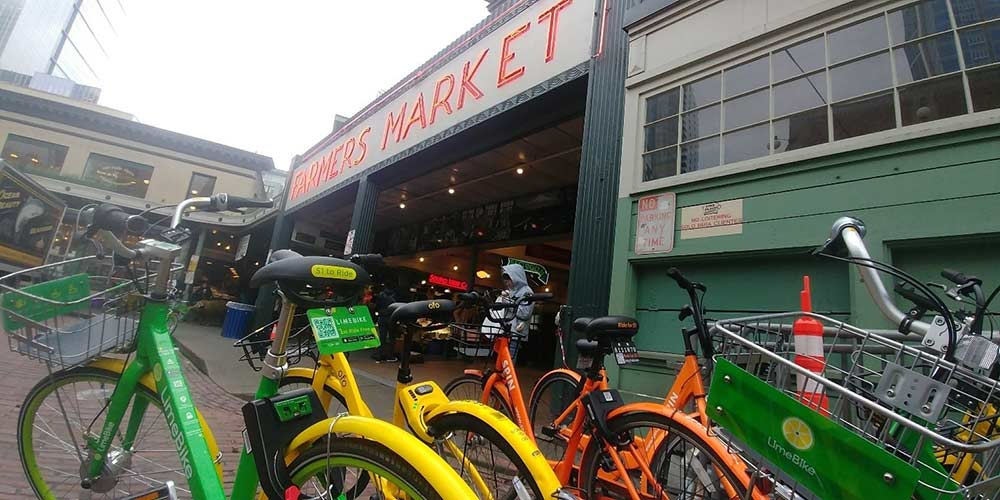 Bikes from Seattle's three dock less share programs outside of Pikes Place Market