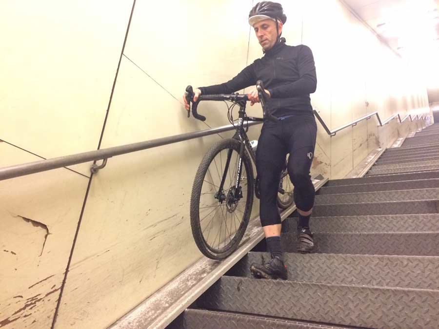 cyclist on stair ramp