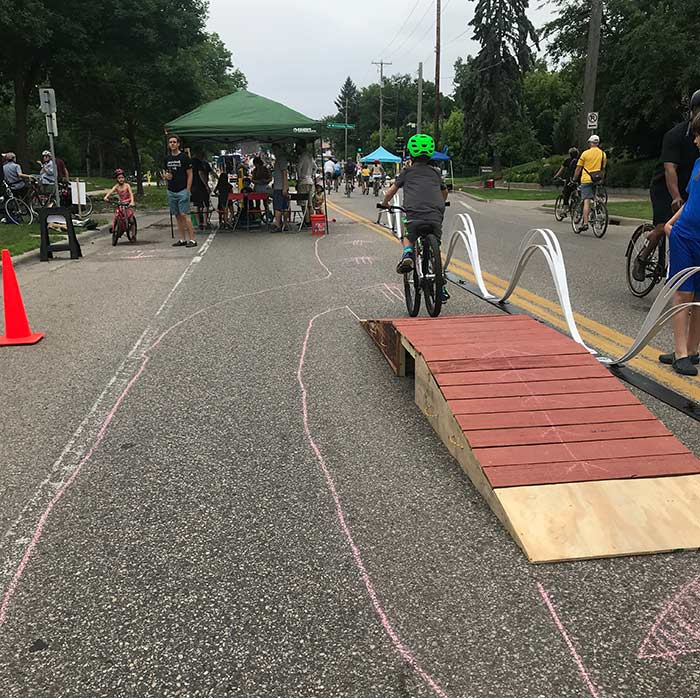 cyclists enjoying the open streets in Minneapolis