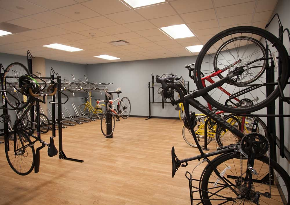 The bike room at Exact Sciences