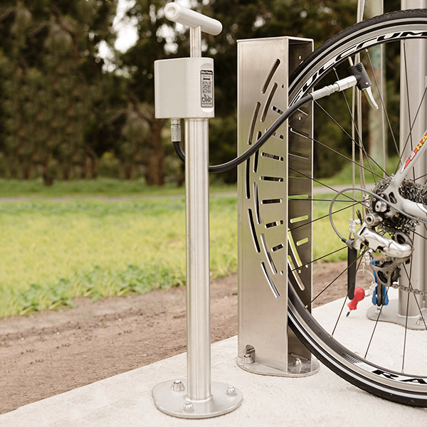 Outdoor Public Bike Pump (With Gauge)