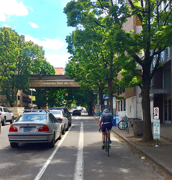 Cycling through Portland, Oregon