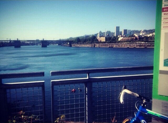 Burnside bridge via bicycle in Portland, Oregon