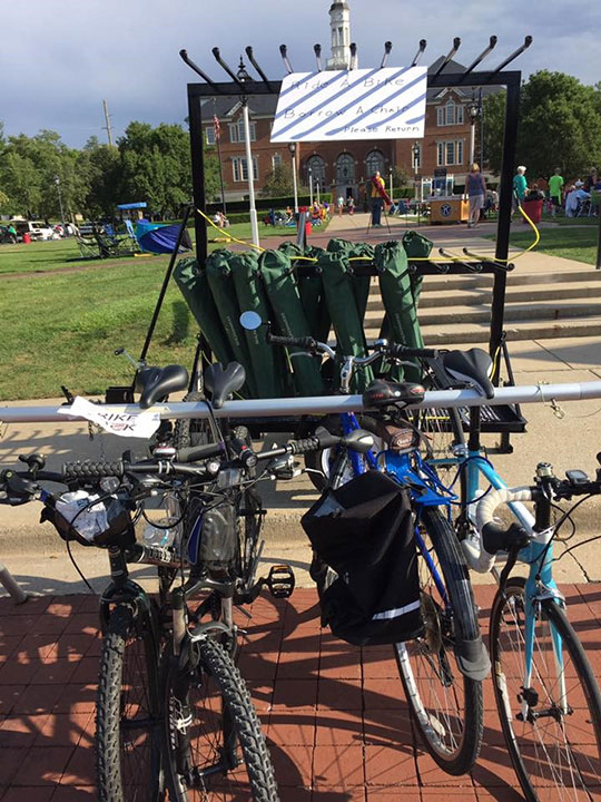 Full bicycle racks for Carmel's Ride a Bike, Borrow a Chair
