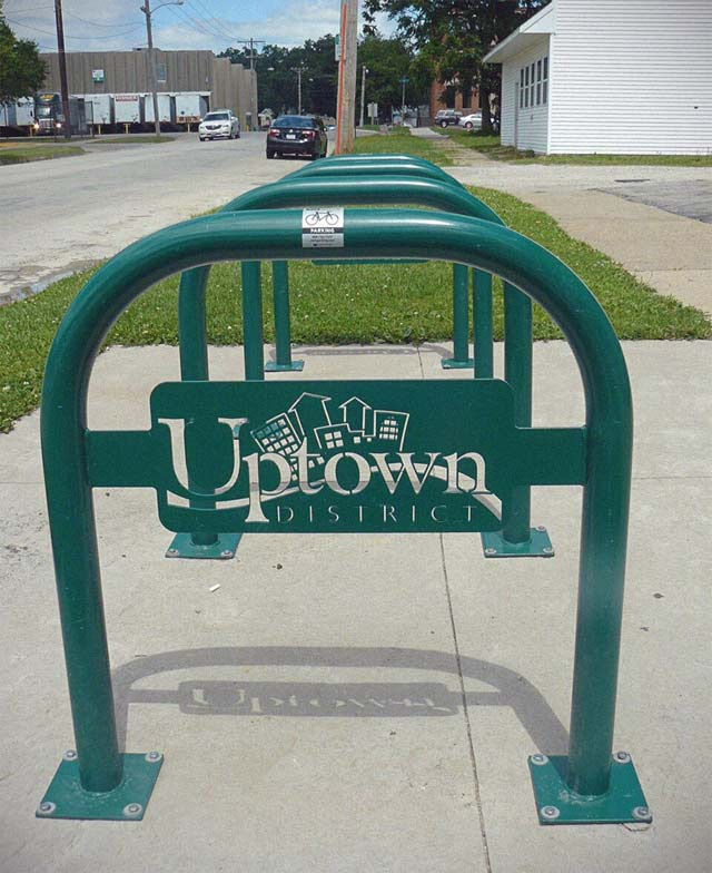 More branded bike parking can be found in the Uptown District of Cedar Rapids