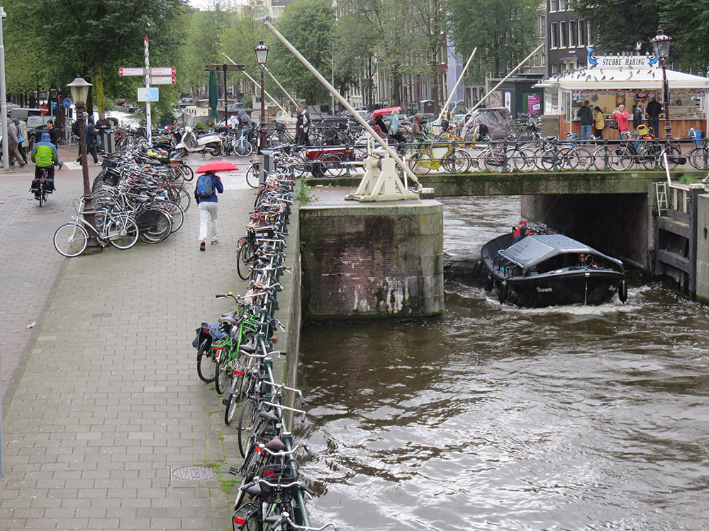 Bikes parked anywhere and everywhere in Amsterdam.