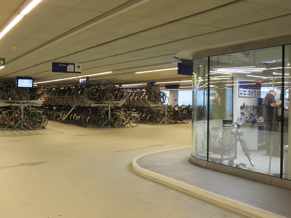 Bike parking garage in the new train station in Rotterdam, Netherlands.