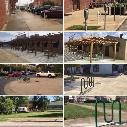 Before and after photos of the new bike parking options in Montgomery