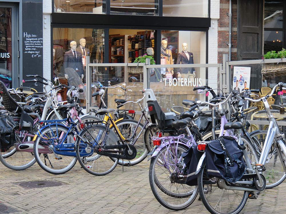 """Dutch-style"" bikes in Delft, Netherlands."